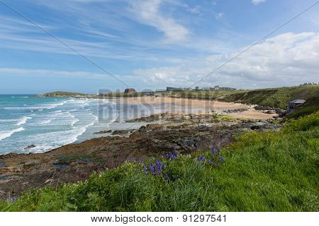 Fistral beach Newquay North Cornwall uk with bluebells and waves popular UK surfing location