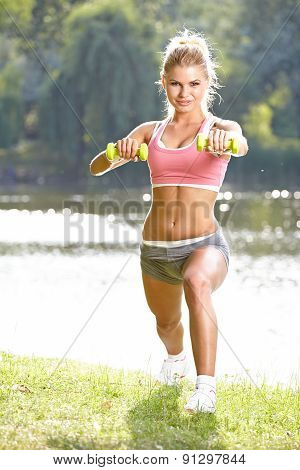Active Fitness Model . Spring Outdoor Training