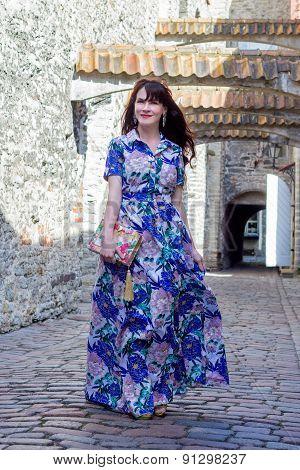 Woman Walking In Old Town Of Tallinn