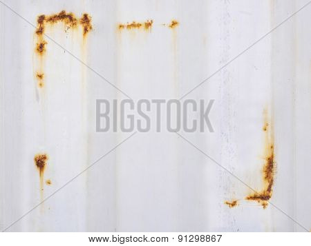 White corrugated iron metal surface with Rust texture on  background
