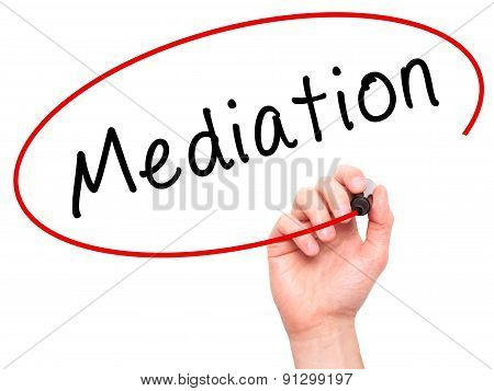 Man Hand writing Mediation with marker on transparent wipe board.