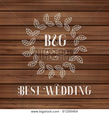 Best wedding label with floral detail on wooden texture Vector illustration