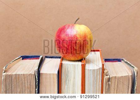 Ripe Apple And Vintage Books
