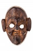 image of cultural artifacts  - an ancient wooden mask isolated over a white background - JPG