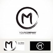 stock photo of letter m  - Vector company logo element template of grunge letter M circle alphabet 3d black and white - JPG