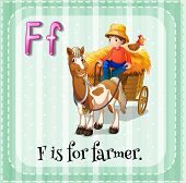picture of farmer  - Flashcard letter F is for farmer - JPG