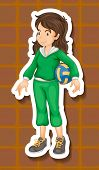 stock photo of jumpsuits  - Sportgirl in green jumpsuit holding a volleyball - JPG