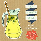 picture of jug  - Doodle hand drawn jug of fresh home made lemonade isolated on brown kraft paper background - JPG