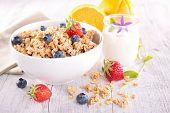 pic of fruit bowl  - bowl of muesli with berries fruits - JPG