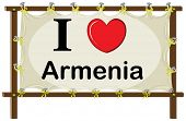 foto of armenia  - I love Armenia sign in wooden frame - JPG