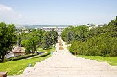 image of municipal  - Long stair from a hill to municipal administration of Pyatigorsk - JPG