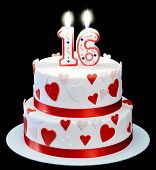 image of sweet sixteen  - number 16 candle and cake with hearts on black background - JPG