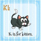 pic of letter k  - Flashcard letter K is for kitten - JPG