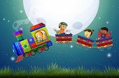 image of boys night out  - Boys and girls riding on a train at night - JPG