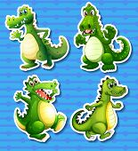 foto of dragon  - Four green dragon in different positions - JPG