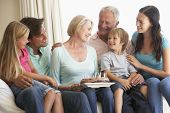 stock photo of extend  - Extended Family Group Celebrating Birthday - JPG