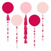picture of tassels  - Vector holiday pink balls - JPG