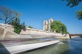 stock photo of notre dame  - Wide angle of Notre dame and Seine river - JPG