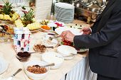 stock photo of buffet  - Hotel restaurant catering service - JPG