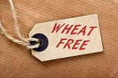 stock photo of wheat-free  - Brown paper label or luggage tag on string with the words Wheat Free in red text - JPG