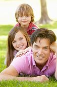 picture of father time  - Father with with children outdoors - JPG