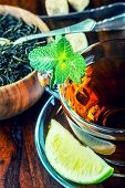 stock photo of darjeeling  - Tea in a glass cup - JPG