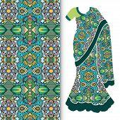 stock photo of indian sari  - Decorative stylized Indian sari women - JPG