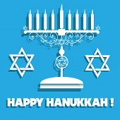 image of hanukkah  - Abstract background with white jewish menorah with candles - JPG
