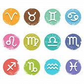 picture of pisces horoscope icon  - Colorful isolated vector horoscope icon set in grunge crayon style white color astrology simbols - JPG