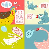 picture of baby goose  - Amusing vivid baby animals illustrations for children - JPG