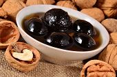 picture of walnut  - Jam from walnuts and walnuts close up - JPG
