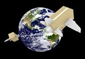 image of shipping receiving  - Global airmail shipping with cardboard box planes - JPG