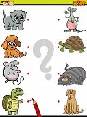 foto of brain-teaser  - Cartoon Illustration of Education Element Matching Game for Preschool Children with Animals and their Children - JPG