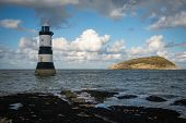 pic of lighthouse  - Penmon Lighthouse And Puffin Island At Penmon Point - JPG