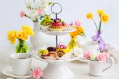 foto of cake stand  - Assorted cakes and pastries on a cake stand for afternoon tea - JPG