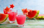 picture of watermelon  - Watermelon drink in glasses with slices of watermelon in star shape - JPG