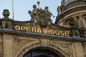 foto of edwardian  - A close up of the name of Buxton Opera House - JPG