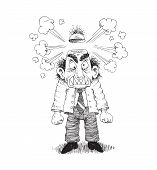 pic of nervous breakdown  - angry stressed man concept hand drawn illustration - JPG