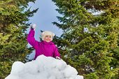 stock photo of snowball-fight  - Beautiful small girl holds snowball and stands behind the snow wall with forest on the background - JPG