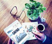 foto of electronic banking  - Saving Save Banking Finance Budget Concept - JPG