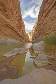 stock photo of bend  - Shadows in a Santa Elena Canyon in Big Bend National Park in Texas - JPG