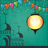foto of prayer  - Beautiful Arabic lantern and mosque on green background - JPG