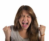 picture of scream  - Aggressive businesswoman stressed out from work screams - JPG