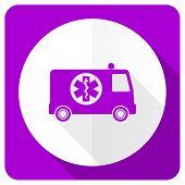 image of ambulance  - ambulance pink flat icon   - JPG