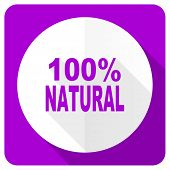 picture of 100 percent  - natural pink flat icon 100 percent natural sign  - JPG