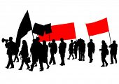 stock photo of anarchists  - People with large flags on white background - JPG