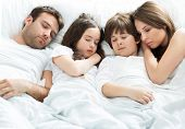 picture of sleeping  - Family of four sleeping  - JPG