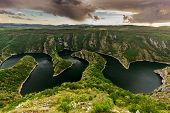 """picture of serbia  - Wonderful canyon with the curving river. Special Reserve of Nature """"canyon Uvac"""", Serbia ** Note: Visible grain at 100%, best at smaller sizes - JPG"""