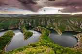 """stock photo of serbia  - Wonderful canyon with the curving river. Special Reserve of Nature """"canyon Uvac"""", Serbia ** Note: Visible grain at 100%, best at smaller sizes - JPG"""