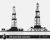 picture of  rig  - Set of oil rigs silhouettes - JPG